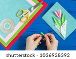 child makes greeting card with... | Shutterstock . vector #1036928392