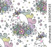 seamless pattern with unicorns... | Shutterstock .eps vector #1036930435
