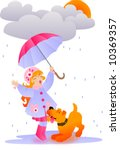 the little girl walks with a... | Shutterstock .eps vector #10369357