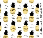 seamless pattern of pineapple.... | Shutterstock .eps vector #1036942732