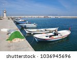 fishing town and small boats...   Shutterstock . vector #1036945696