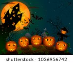 cartoon halloween pumpkins and... | Shutterstock .eps vector #1036956742