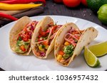 mexican tacos with vegetables... | Shutterstock . vector #1036957432