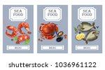 sea food cards vector realistic.... | Shutterstock .eps vector #1036961122