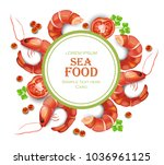 shrimps card vector realistic.... | Shutterstock .eps vector #1036961125