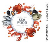 sea food card vector realistic. ... | Shutterstock .eps vector #1036961128