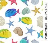 seamless pattern of tropical... | Shutterstock . vector #1036971718