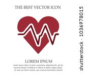 heart vector icon with ekg... | Shutterstock .eps vector #1036978015