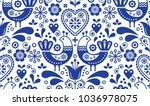 scandinavian seamless folk art... | Shutterstock .eps vector #1036978075
