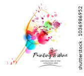 idea for painting and wine... | Shutterstock .eps vector #1036986952