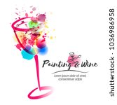 idea for painting and wine... | Shutterstock .eps vector #1036986958
