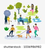 various people at park outdoor... | Shutterstock .eps vector #1036986982