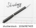 pen and notice in a notebook ... | Shutterstock . vector #1036987405