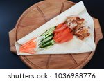 flatbread with chicken meat... | Shutterstock . vector #1036988776