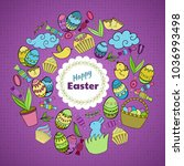 colorful vector of easter... | Shutterstock .eps vector #1036993498