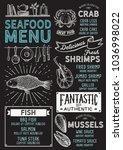 seafood restaurant menu. vector ... | Shutterstock .eps vector #1036998022