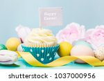 happy easter cupcake | Shutterstock . vector #1037000956