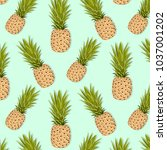 pineapple pattern. vector... | Shutterstock .eps vector #1037001202