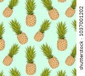 pineapple pattern. vector... | Shutterstock .eps vector #1037001202