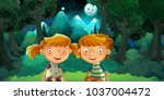 cartoon scene with boy and girl ... | Shutterstock . vector #1037004472