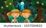 cartoon scene with boy and girl ... | Shutterstock . vector #1037004832