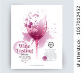 illustration of wine glass with ... | Shutterstock .eps vector #1037012452