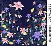 flowers set isolated on black... | Shutterstock .eps vector #1037013532