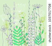 vector background with doodle... | Shutterstock .eps vector #1037017708