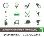 golf simple vector icons in two ... | Shutterstock .eps vector #1037023246
