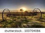 Antique Farm Equipment Sunset...