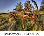 Antique Farm Equipment Sunset...