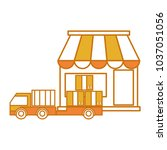 color delivery store with truck ... | Shutterstock .eps vector #1037051056