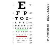 eye test chart vector. letters... | Shutterstock .eps vector #1037052298