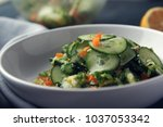 asian cucumber salad on the... | Shutterstock . vector #1037053342