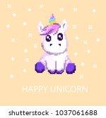 pixel happy unicorn  | Shutterstock .eps vector #1037061688