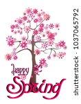 happy spring  cherry blossom ... | Shutterstock .eps vector #1037065792