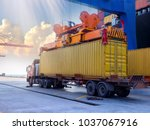 the container vessel  during... | Shutterstock . vector #1037067916