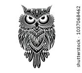 ornate owl  zenart for your... | Shutterstock .eps vector #1037068462