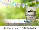 table background of easter time ... | Shutterstock . vector #1037069695