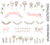romantic set of doodles of... | Shutterstock .eps vector #1037075422
