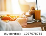 breakfast in bed  cozy hotel... | Shutterstock . vector #1037078758