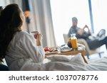 breakfast in bed  cozy hotel... | Shutterstock . vector #1037078776