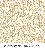 vector leaf seamless pattern.... | Shutterstock .eps vector #1037081962