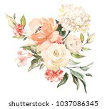 watercolor flowers. floral... | Shutterstock . vector #1037086345