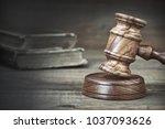 judge or auctioneer gavel or...   Shutterstock . vector #1037093626