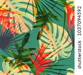 seamless tropical leaves and... | Shutterstock . vector #1037094592