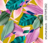 seamless tropical leaves and... | Shutterstock . vector #1037095282