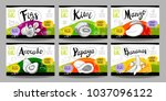 set colorful food labels ... | Shutterstock .eps vector #1037096122