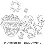 small wooden cart with painted... | Shutterstock .eps vector #1037099842