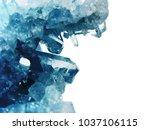 aquamarine natural quartz blue... | Shutterstock . vector #1037106115
